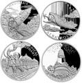 Ниуэ 2018 Набор 4 Монеты Мир Жюль Верна Наутилус Альбатрос Механический Слон Колумбиада (2018 Niue Jules Verne Nautilus Columbiad Mechanical Elephan Albatross 4 coin set).Арт.60