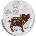 Ниуэ 2 доллара 2019 Год Свиньи Лунный календарь (Niue 2$ 2019 Year of the Pig 1oz Silver).Арт.69