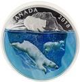 Канада 30 долларов 2018 Плавающий Белый Медведь Объемная Природа (Canada 30$ 2018 Dimensional Nature Polar Bears Silver Coin 2oz).Арт.69