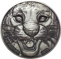 Берег Слоновой Кости Кот-д'Ивуар 1000 франков 2013 Черная Пантера (Cote D`Ivoire Ivory Coast 1000FCFA 2013 Black Panther 1oz Silver Coin Antique).Арт.000297247369