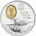 Канада 20 долларов 1997 Канадиар CT-114 Tutor Эдвард Хиггинс Авиация (Canada 20$ 1997 Canadair CT-114 Tutor Edward Higgins Aviation Series 1oz Silver Coin).Арт.68