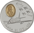 Канада 20 долларов 1997 Канадиар F-86 Сэйбр Фернанд Вильнев Авиация (Canada 20$ 1997 Canadair F-86 Sabre Fernand Villeneuve Aviation Series 1oz Silver Coin).Арт.68