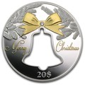 Кирибати 20 долларов 2013 Счастливого Рождества Колокол Силуэт (Kiribati 20$ 2013 Merry Christmas Bell Hole 2Oz Silver).Арт.000655845844/60