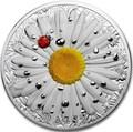 Палау 10 долларов 2018 Маргаритка Божья Коровка (Palau 10$ 2018 Daisy Ladybug High Relief Flowers Leaves 2 Oz Silver Coin).Арт.67