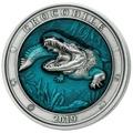 Барбадос 5 долларов 2019 Крокодил Подводный Мир (Barbados 5$ 2019 Crocodile Underwater World 3oz Silver).Арт.67
