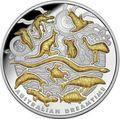 Ниуэ 10 долларов 2019 Время Сновидений Символы Австралии (Niue 10$ 2019 Australian Dreamtime 5oz Silver Proof Coin World Money Fair).Арт.67