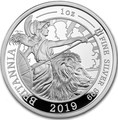 Великобритания 2 фунта 2019 Британия (GB 2£ 2019 Britannia 1 Oz Silver Coin).Арт.67