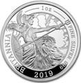 Великобритания 2 фунта 2019 Британия (GB 2£ 2019 Britannia 1 Oz Silver Coin).Арт.67