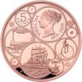 Великобритания 5 фунтов 2019 Королева Виктория 200 лет Корабль Паровоз Велосипед (GB 5£ 2019 200th Anniversary of the Birth of Queen Victoria Gold Proof Coin).Арт.67
