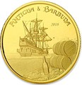 Антигуа и Барбуда 10 долларов 2018 Корабль Рамраннер (Antigua&Barbuda 10$ 2018 Ship Rum Runner 1Oz Gold Coin).Арт.67