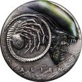 Тувалу 2 доллара 2019 Чужой НЛО Космос (Tuvalu 2$ 2019 Alien 40th Anniversary 2oz Silver Antiqued Coin).Арт.67