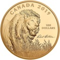 Канада 100 долларов 2019 Лев Художник Роберт Бейтман (Canada 100$ 2019 Robert Bateman Into The Light Lion 10 oz Silver Coin Gold Plating).Арт.65