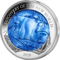 Соломоновы Острова 25 долларов 2020 Лейф Эрикссон Открытие Нового Мира Перламутр (Solomon Isl 25$ 2020 Discovery of the New World Leif Erikson Mother of Pearl Silver Coin Proof).Арт.65