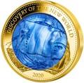 Соломоновы Острова 100 долларов 2020 Лейф Эрикссон Открытие Нового Мира Корабль Перламутр (Solomon Isl 100$ 2020 Discovery of the New World Leif Erikson Mother of Pearl Gold Coin Proof).Арт.25/90
