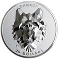 Канада 25 долларов 2019 Волк Многогранная Голова (Canada 25$ 2019 Wolf Multifaceted Animal Head 1 oz Silver Coin).Арт.65