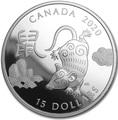 Канада 15 долларов 2020 Год Крысы Лунный Календарь (Canada 15$ 2020 Year of the Rat Lunar 1oz Silver Coin Proof).Арт.000450657573/65