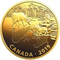 Канада 30 долларов 2019 Волки и Лоси Хищник и Добыча (Canada 30$ 2019 Predator and Prey Wolves and Elk 2 oz Gold Plated Silver Coin).Арт.65