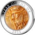 Острова Кука 25 долларов 2021 Год Быка Лунный Календарь Перламутр (Cook Isl 25$ 2021 Year of the Ox Mother of Pearl 5 Oz Silver Coin).Арт.65