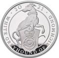 Великобритания 2 фунта 2021 Белая Борзая Ричмонда серия Звери Королевы (GB 2£ 2021 Queen's Beast White Greyhound of Richmond 1oz Silver Proof Coin).Арт.90