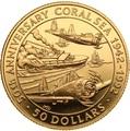 Соломоновы острова 50 долларов 1992 Битва в Коралловом Море Слаб (Solomon Isl 50$ 1992 50th Anniversary of the Battle of the Coral Sea 0,5oz Gold Coin PCGC PR69DCAM).Арт.K1,8G/92
