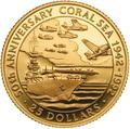 Соломоновы острова 25 долларов 1992 Битва в Коралловом Море Слаб (Solomon Isl 25$ 1992 50th Anniversary of the Battle of the Coral Sea 0,25oz Gold Coin PCGC PR69DCAM).Арт.K1,8G/92