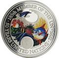 Палау 20 долларов 1995 50 лет ООН Защита Морской Жизни (Palau 1995 $20 United Nations 50th Anniversary Marine Life Protection 5Oz Silver Coin).Арт.92