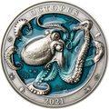 Барбадос 5 долларов 2021 Осьминог Подводный Мир ( Barbados 5$ 2021 Octopus Underwater World 3oz Silver Coin ).Арт.92