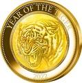 Острова Кука 200 долларов 2022 Год Тигра Лунный Календарь Перламутр ( Cook Isl 2022 200$ Year of the Tiger Mother of Pearl 5oz Gold Coin Proof ).Арт.92