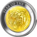 Острова Кука 25 долларов 2022 Год Тигра Лунный Календарь Перламутр ( Cook Isl 2022 25$ Year of the Tiger Mother of Pearl 5oz Silver Coin Proof ).Арт.92