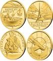 Ниуэ 4х5 долларов 2020 Великая Отечественная Война 1940 год Набор Золотых Монет Нарвик Франция Операция Динамо Британия Корабль Самолет Танк (Niue 4х5$ 2020 Set Gold Coins War 1940 Narvik France Operation Dynamo Britain).Арт.K1,46G/92