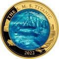 Соломоновы Острова 100 долларов 2022 Титаник Перламутр (Solomon Isl 100$ 2022 RMS Titanic Mother of Pearl 5oz Gold Coin Proof).Арт.92