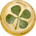 Палау 1 доллар 2021 Клевер На Удачу (Palau 1$ 2021 Good Luck 4-leaf Clover Gold Coin).Арт.92