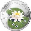 Канада 20 долларов 2010 Водяная Лилия Кувшинка Душистая Капля Дождя (Canada 20C$ 2010 Water Lilia Raindrop Swarovsky Silver Proof).Арт.000322431661/67