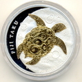 "Фиджи 2 доллара 2010.""Морская черепаха Таку""(позолота)."